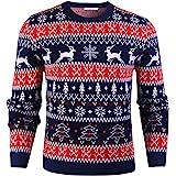 iClosam Maglione Natalizio Unisex Donna Uomo Invernale Stampare Cotone Ugly Sweater Pullover in Maglieria Maglia Felpa Maglio