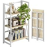 4NM MDF and Metal Tube No-Assembly 3-Tier Black Finish Vintage Folding Storage Bookshelf Standing Racks Study Organizer Home,
