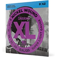 D'Addario EXL120 Nickel Wound 9-42 Super Light Electric Guitar Strings (Nickel)