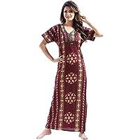 YKI® Premium Cotton Fabric Women's Nighty/Nightgown with Pocket