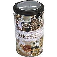 Faveco 504717 Boîte Ronde de Rangement, Métal, Motif café, 13 x 19.5 x 11.5 cm, Multicolore