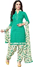 Kanchnar Women's Cotton Dress Material (487D2004_Green_Free Size, Unstitched)
