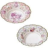 Talking Tables, Ciotole di Carta Truly Scrumptious, Design Vintage, Floreali, in 2, per festicciola, tè o Compleanno, Blu/Ros