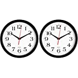 Bernhard Products - Black Wall Clocks, 2 Pack Silent Non Ticking 10 Inch Quality Quartz Battery Operated Round Easy to Read H