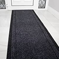 The Rug House Grey Black Rubber Backed Very Long Hallway Hall Runner Narrow Rugs Custom Length - Sold and Priced Per…