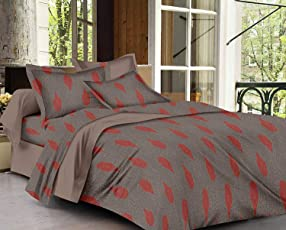 Trance Home Linen 100% Cotton 200TC Premium Printed Queen Fitted Bed Sheet  With 2 Pillow