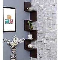 Furniture Cafe Zig Zag Floating Wall Mount Corner Shelf Wooden Display Shelves Storage Organizer For Wall Decoration Of…