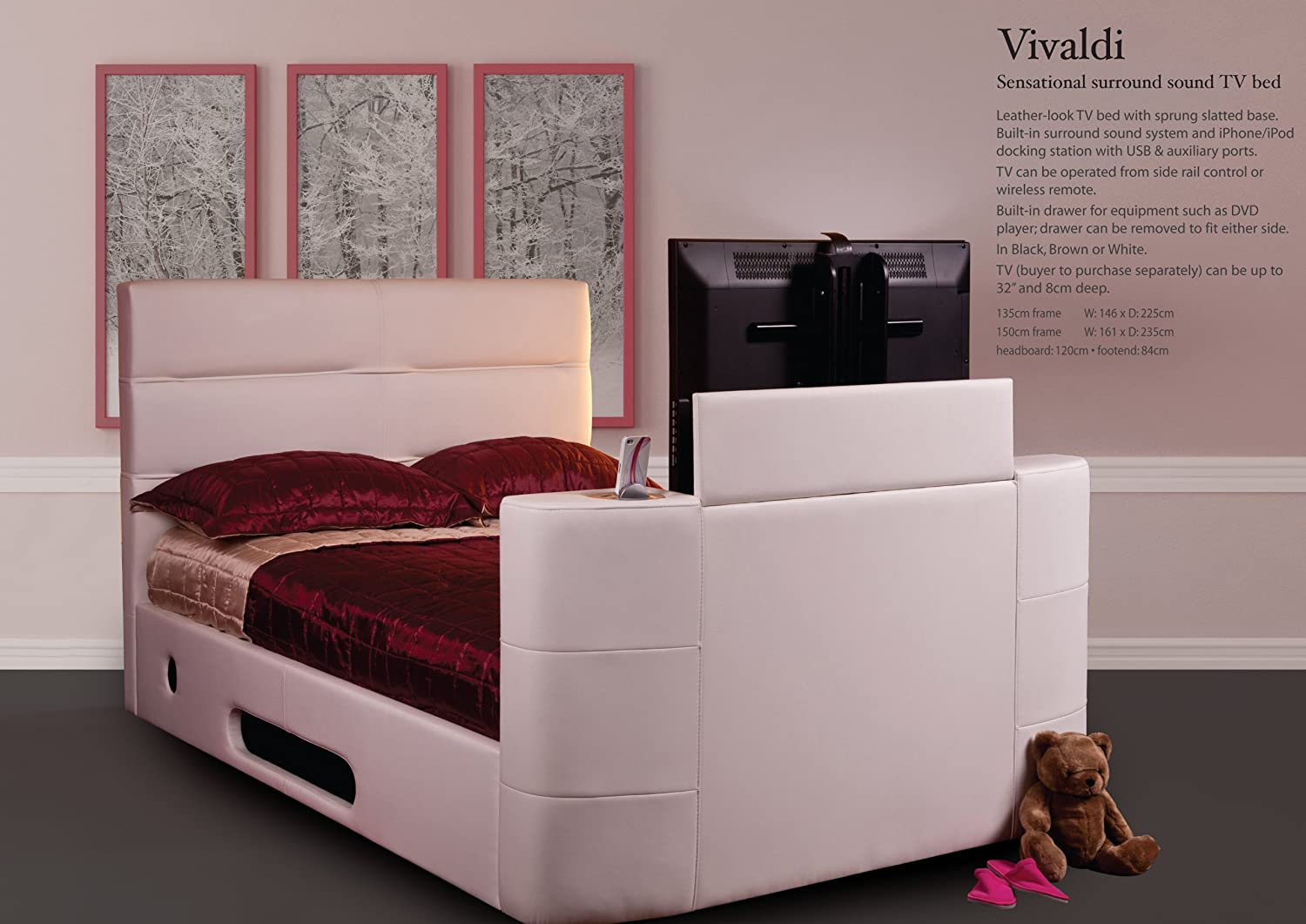 Bed With Tv Built In Sweet Dreams Vivaldi Surround Sound King Size Tv Bed White