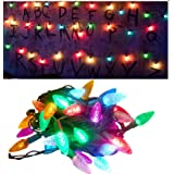 Vercico Stranger Things Lumiere, Led Cordes Guirlande Lumineuse Batterie Lumières pour arbres de Noël Batterie multicolore Dé