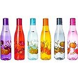 Amazon Brand - Solimo Plastic Fridge Water Bottle Set (6 pieces, Multicolour, Citrus Pattern)