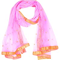 WHITEHEAVEN Women's Net Dupatta With Star & Lace