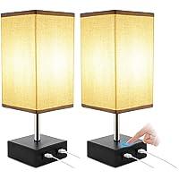 ENCOFT 2 Lampes de Chevet Tactile, Lampe de Chevet Chargeur, USB Rechargeable Veilleuse, Lampe de Bureau Tissu Gris…