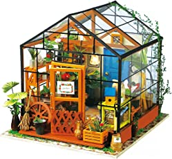 ROBOTIME Puppenhaus Bausatz Holz Modell Set Möbliert Zimmer, Selbermachen Basteln Konstruktion Bau Kit Spielzeug für Kinder, Mini Diorama Handgefertigt mit Licht und Zubehör Blumen Haus für Jungen und Mädchen zum Spielen Miniatur Kreativ Geburtstag Weihnachts Geschenk