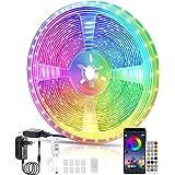 Ruban LED, Voneta 10M Chambre LED 5050 RGB LED Bande Multicolores, IR &APP Télécommande, Synchroniser avec Rythme de Musique,