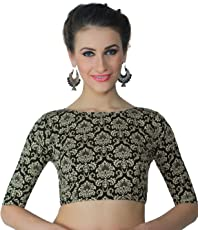 Studio Shringaar Women's Polyester Moghul Print Saree Blouse with Elbow Length Sleeves