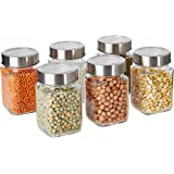 Amazon Brand - Solimo Square Glass Storage Containers, Set of 6, 310 ml Each