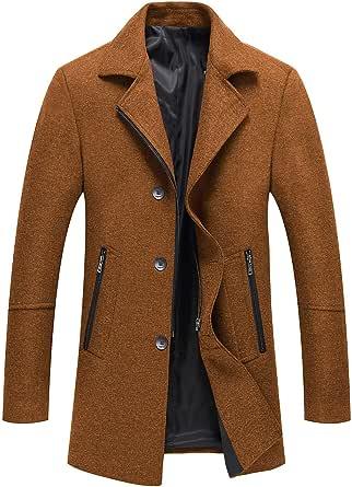 BOJIN Men's Coat Winter Long Warm Slim Fit Wool Blend Trench Coat