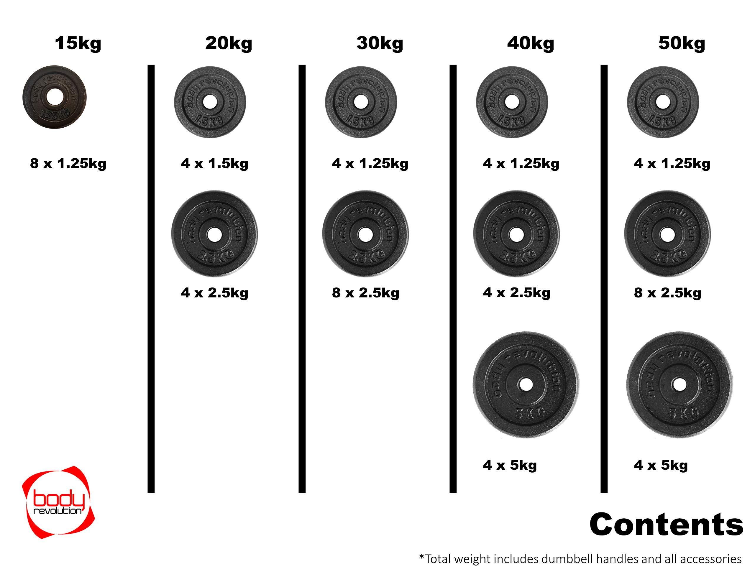 Body Revolution Dumbbell Set Cast Iron Dumbells 15kg 20kg 30kg 40kg 50kg Adjustable Dumbbell Weights