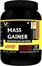 Musclemass High Protein Mass Gainer Supplement Powder Chocolate, 1 Kg / 2.2 Lb (29 Servings)