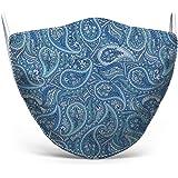 Mascherina in tessuto lavabile stampata, 100% Made in Tuscany, taglia uomo, fantasie varie (Paisley Blu)