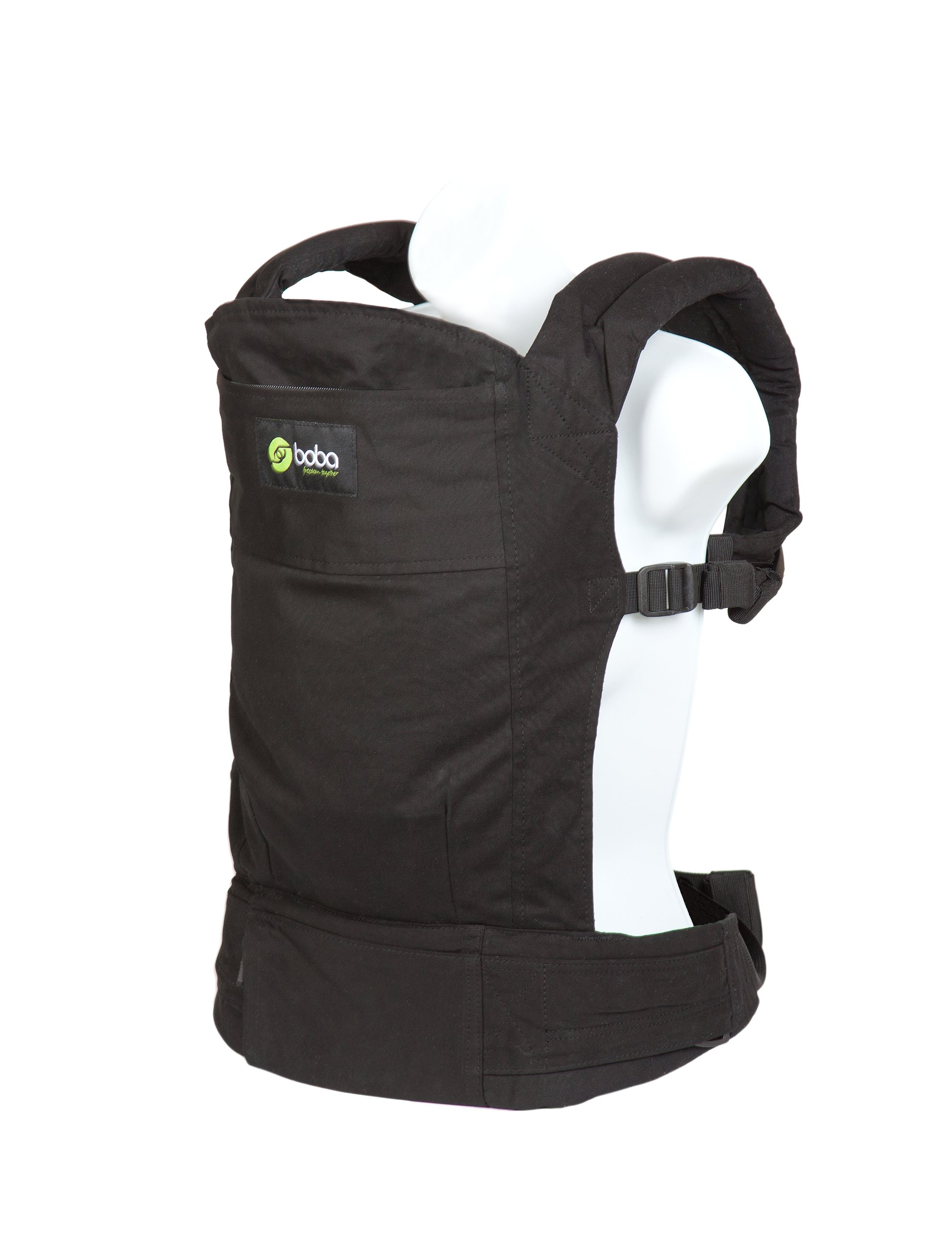 "Boba 3G Baby Carrier, Montenegro Boba Use as a front carrier from 7 - 15lbs and front or back carrier from 15 - 45 lbs Removable sleeping hood: Comfortable fits heights 5'0 - 6'3"" : Waist range from 25"" - 58"" Removable foot straps: Shoulder strap to keep purse in place: Adjustable chest strap 1"