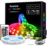 Aourow Tira LED 5m RGB,Tiras LED Flexible con Control Remoto de 24 Teclas y Adaptador de 12V,LED Strip Multicolor 5050 SMD 15