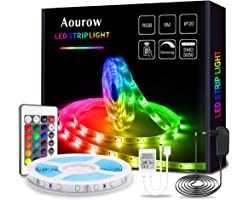 Aourow Ruban LED 5m,Bande LED Flexible RGB avec Télécommande IR 24 Touches et Alimentation 12V,Bandeau LED Multicolore 5050 S