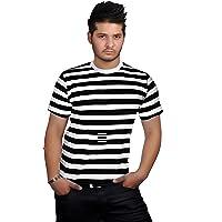 TrendyFashion Men's RED & White Black & White Blue & White Stripe T-Shirt Fancy Dress Shirts