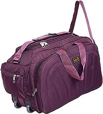 alfisha Lightweight Waterproof Polyester Travel Duffel Bag with Roller Wheels -Purple