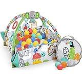 Bright Starts, Gimnasio de Actividades evolutivo 5-en-1 Totally Tropical, incluye 40 bolas y su maletín, 7 juguetes, almohadi