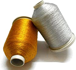 AM Metalic Zari Thread For Embroidery, Jewellery Or Any Craft, Pack Of 2- Everyday Gold And Silver