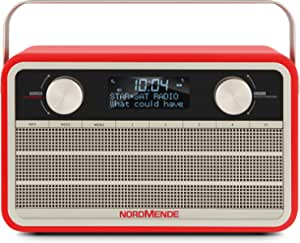 Nordmende Transita 120 Portable Dab Radio Dab Fm 24 Hours Battery Aux In Alarm Clock 2 Alarm Times Sleep Timer Snooze Function Headphone Jack Red Home Cinema Tv Video