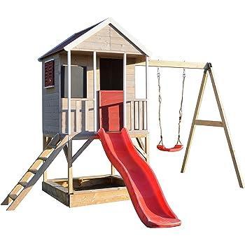 Super Wendi Toys Kinder Spiel Haus auf Plattform mit Schaukeln | Holz KF03