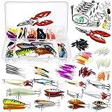 Homealexa Señuelos de Pesca, 123 Piezas Kits de Señuelos Pesca Accesorios Cebos Artificiales Articulos de Pesca Incluido la C