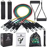 CFX Träningsband set, fitness träningsband 11 st med fitnessrör, skumhandtag, ankelremmar, dörrankare för hem gym fitness, fy