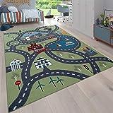 Vloerkleed Kinderkamer, Speelvloerkleed Voor Kinderkamers, Met Straatmotief, In Groen, Maat:300x400 cm