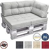 Beautissu Cuscino laterale per divano di pallet ECO Elements 60x40x10-20cm - per bancali di legno - grigio chiaro