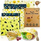 Popolic Involucri di Cera d'api 6PCS, Lavabile Riutilizzabile Alimentare in Cera d'api Stoccaggio Alimenti Variety Pack Forma