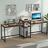 Tribesigns Bureau d'ordinateur, Bureau Extra-Long pour Deux Personnes avec étagères de Rangement, Double Poste de Travail, Bu