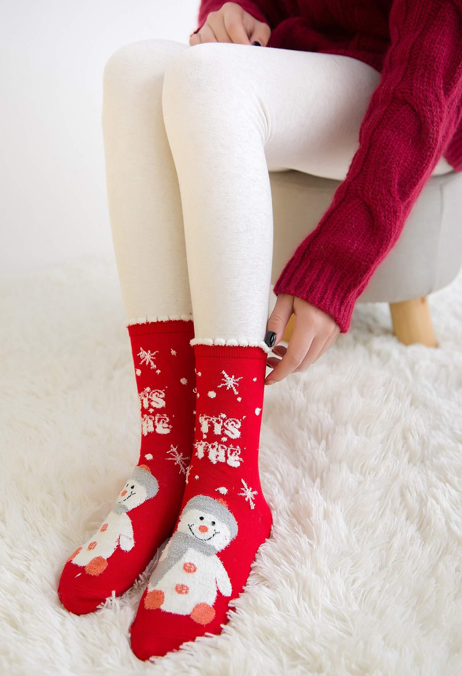 LIKERAINY Christmas Ragazze Donna Calzini Cotone di Natale Caldo Inverno Confortevole Babbo Natale e Alce 5 Paia 5 spesavip