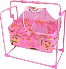 Ehomekart Baby's Plastic Mobile Cradle or Swing with Mosquito Net and Pillow (Multicolour)