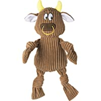 Goofy Tails Fluffy Cow Plush Dog Toy | Squeaky Toy for Dogs for Small & Medium Breeds (Brown)