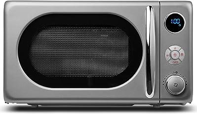 MEDION Mikrowelle MD 18028/800 Watt/Grillfunktion 1.000 Watt / 20 L Garraum / 8 Automatikprogramme/LED-Display/stilvolles Retro-Design/silber