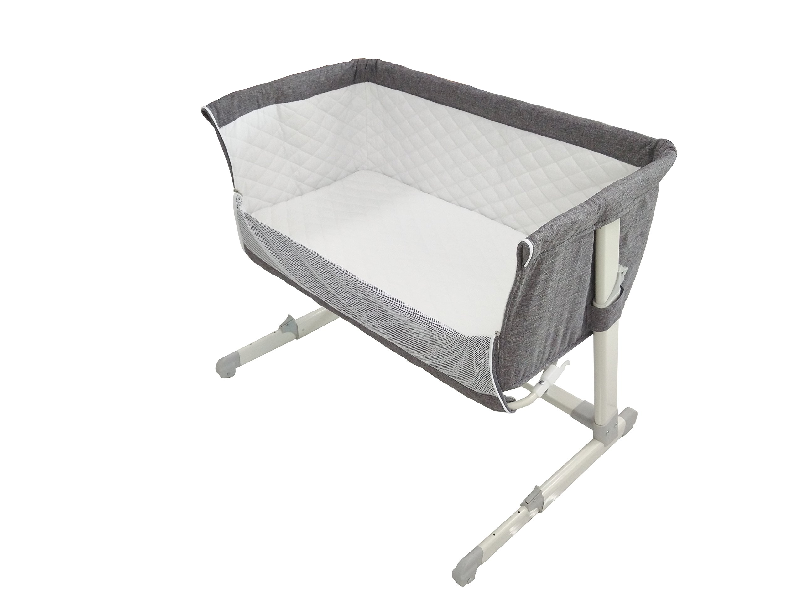 Babylo Cozi Sleeper  Complete with 2 Free Sheets worth £25 Pounds. Removable lining for easy cleaning. Storage Bag Included. European & UK Standard EN1130. Free from Chemicals.  Mattress Fatigue Test BS1877 Certified. Comes fitted with 2 wheels for easy manoeuvrability between rooms. Zip down side panel when fixing to the parents' bed for side-sleeping. Multi-height positions, individually adjustable on each side. Can be set inclined to help with congested breathing and reflux. Use from birth to 9kgs. Stop using when child can sit, kneel or pull themselves up unaided.  Fits both frame and divan beds as the design allows the crib to move flush with bed. Two fastening clip-on straps to hold crib snug against bed. As baby grows you can move it away from the bed and use as a normal crib. Removable and washable lining. Soft removable mattress included. 2 free sheets included. Soft quilted sides with mesh for visibility and ventilation. Easy manoeuvrability, assembly and use. Mattress size 87lx46wx4d. Handy storage bag for transportation. 1