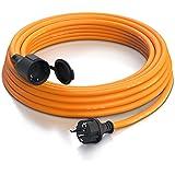 Brandson - Cable alargador Schuko 10m para Exteriores - MAX 3500 W - IP44 - Enchufe con Tapa Protectora - Cobre Revestimiento