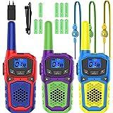 Walkie Talkie para Niños 3 Pcs 8 Canales y 9 Baterías Recargables Función VOX LCD Pantalla, hasta 3 KM en Area Abierta, Juego