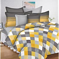 Ahmedabad Cotton Double Zipper Duvet Cover with Pillow Covers Set - Yellow and Grey