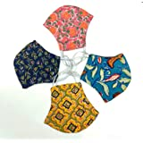 Collectible India Men's and Women's Cotton Anti Pollution Dustproof/Block Print Reusable Washable Face Mask - Pack of 4