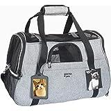 ABISTAB Hundebox faltbar Transportbox Hunde und Katze Transporttasche für Auto- und Flugreisen geeignet Tragetasche bis 7kg mit ID-Tag und zusätzlichen Tragegurten, 48 x 33 x 25,5cm