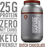 Isopure Low Carb Protein Powder, 100% Whey Protein Isolate, Gluten Free / Lactose Free, Keto Friendly, Flavor: Dutch Chocola